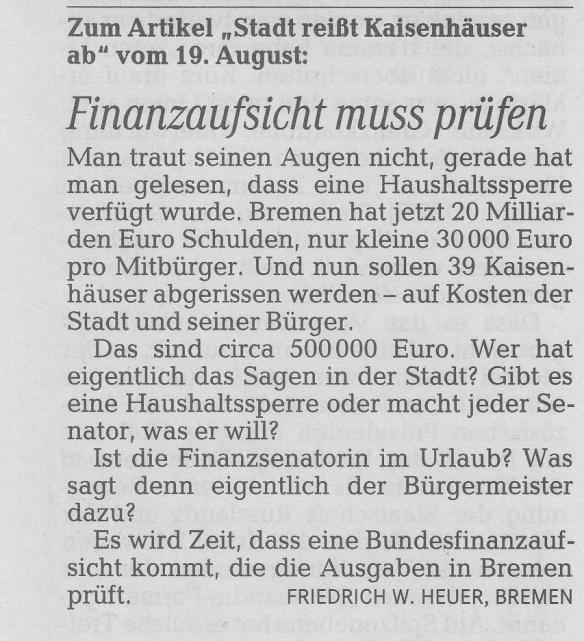 Weser-Kurier 23.8.2014