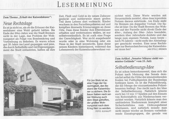 Weser-Kurier 2.8.2014