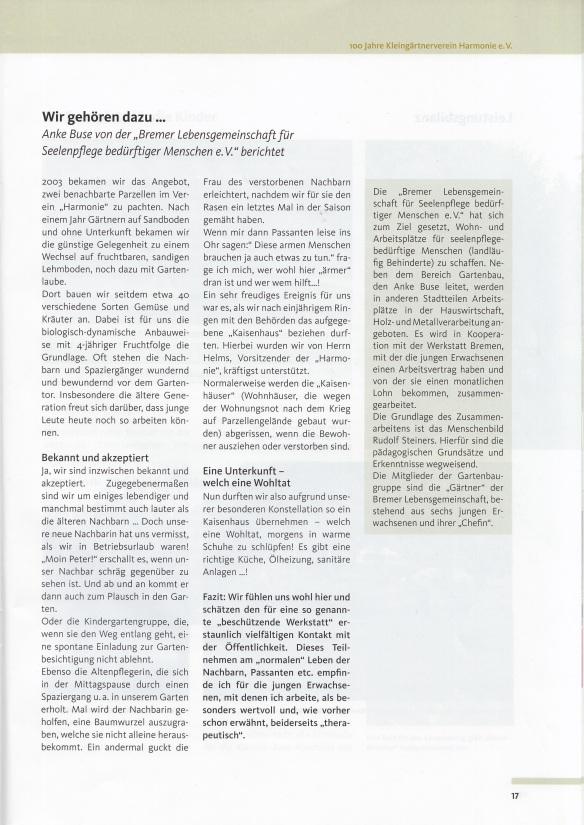 in: 100 Jahre Kleingärtnerverein Harmonie e.V. Bremen 2011