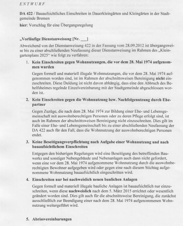 Dienstanweisung vom 5.3.2015 zum Umgang mit Kaisenhäusern als Übergangsregelung bis zur Verabschiedung des Kliengartenplans 2025