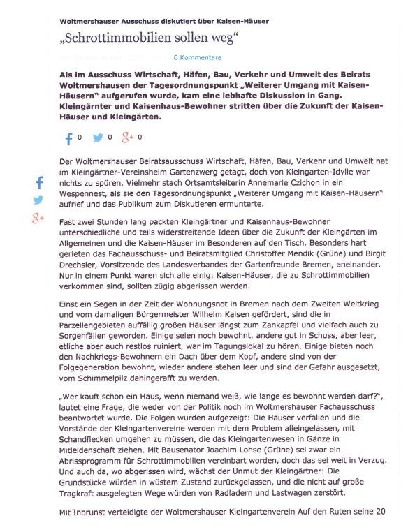 Weser Kurier von 02.03.2015